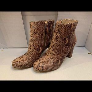 ECU brown python print booties
